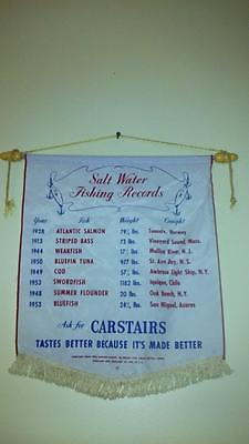 1953 CARSTAIRS WHISKEY BANNER 17X18 SALT WATER FISHING RECORDS SILK NO HOLES