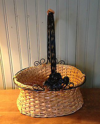 Woven Wicker Basket with Black Metal Trim & Flower Decoration  Scrolls & Handle