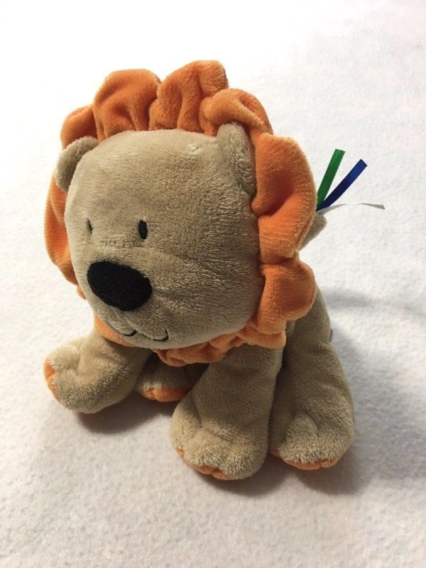 Just One Year Carters Tan Orange Mane Lion Plush Ribbon Tail Stuffed Animal