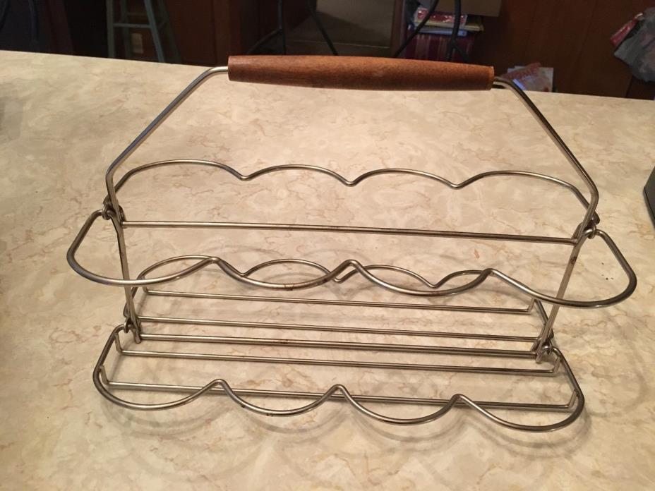 Vintage 50's 60's teak handle metal wire glasses carrier barware rack folding