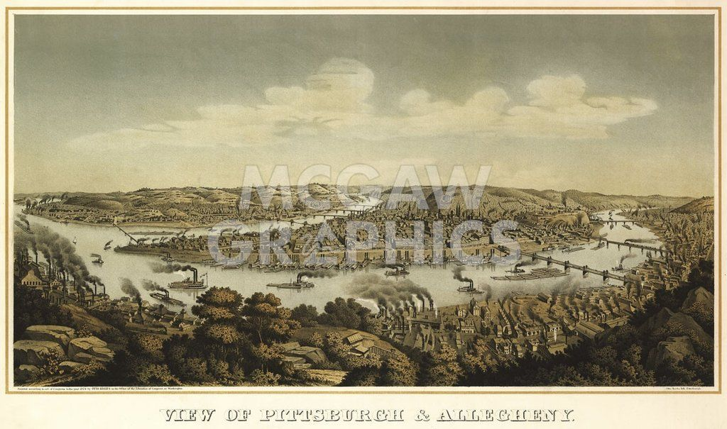 KREBS - VIEW OF PITTSBURGH &ALLEGHENY, 1874 - ART PRINT POSTER 11