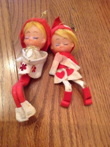 Set of Two Vintage Christmas Pixies Elves Bendable Tree Ornaments