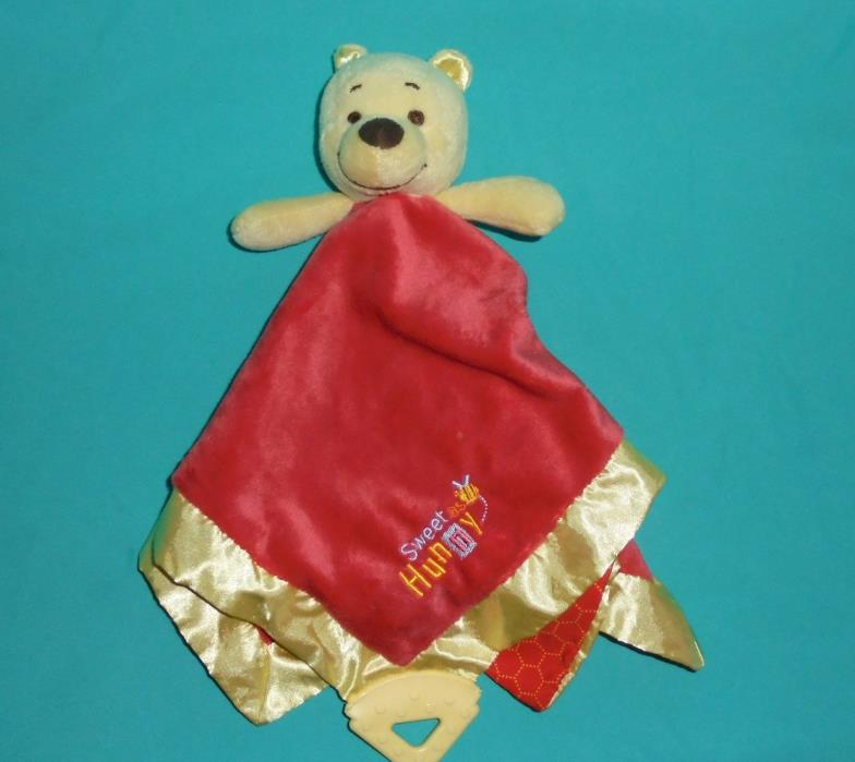 Plush Disney Baby Red Security Blanket Winnie The Pooh Bear Sweet As Hunny LOVEY