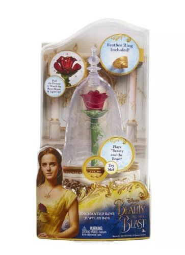 Disney's Beauty and the Beast Enchanted Rose Jewlery Box with Ring, Music