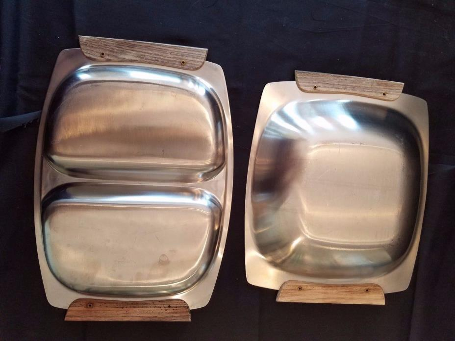 Set of 2 Mid Century Modern Stainless 12