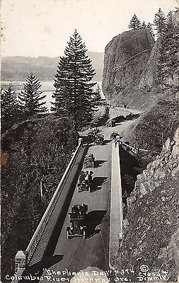 Columbia River Highway Oregon~Shepherds Dell~Vintage Cars Driving~1920s RPPC