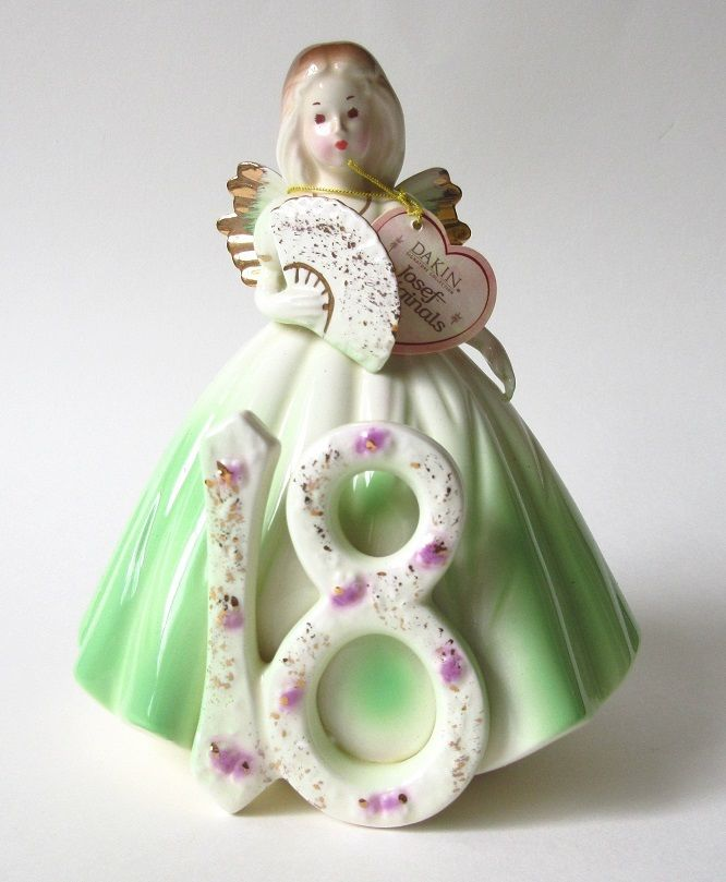 Josef Originals Birthday Girl 18 Figurine with Tag in Box Large 6.5