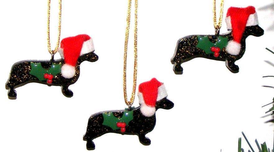 DACHSHUND SANTA DOGS ~CHRISTMAS ORNAMENTS