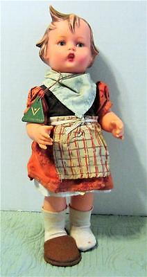 Vintage M.J. Hummel Strick-Liesl Girl Doll Nice Condition - Signed Original Tag