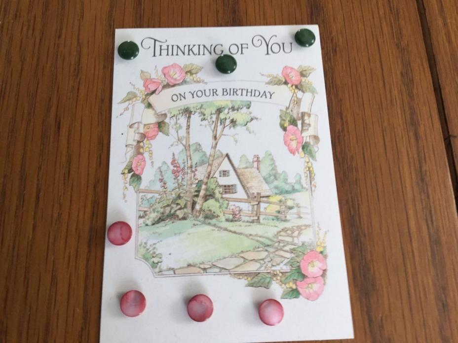 ANTIQUE PINK & GREEN PLASTIC BUTTON VINTAGE GRANDMOTHER KEEPSAKES