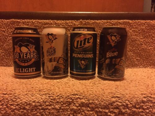 IC Light &Labatts Pittsburgh Penguins Beer Cans