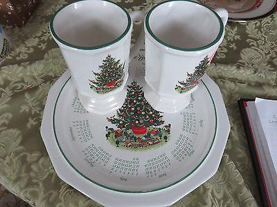 PFALTZGRAFF christmas HERITAGE CALENDAR DINNER PLATE 2000& TWO PEDASTAL MUGS