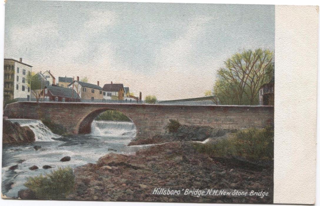 New Stone Bridge Hillsboro Bridge New Hampshire Vintage Postcard L91