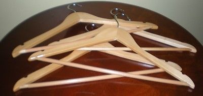 Natural Wood - Blonde - Clothes Hangers with Non-Slip Pants Bar – 8