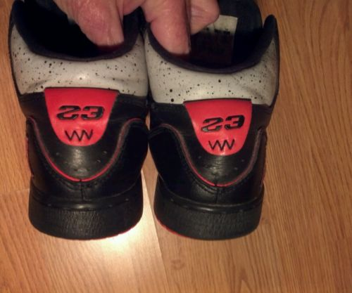 Basketball shoes youth 4Y black spotted gray red athletic beaters used AS IS