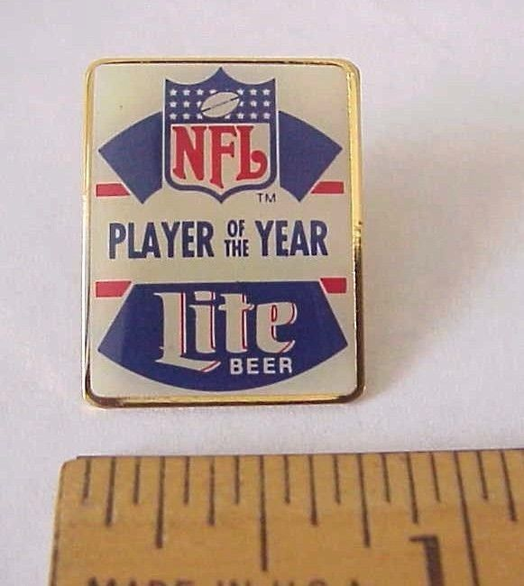 Vintage NFL Player of The Year Miller Lite Beer Made in Taiwan Pin