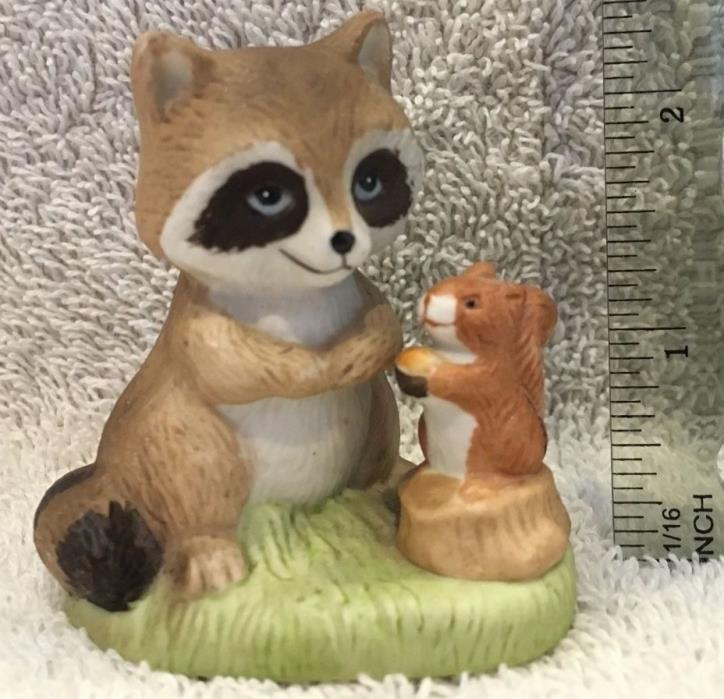 Vintage HOMCO Porcelain Animal Figurine - Raccoon with Squirrel # 1418