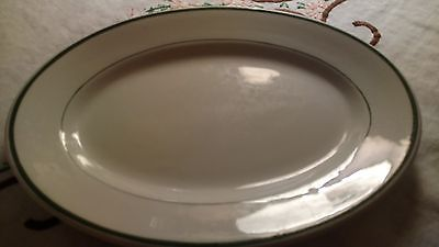 MAYER CHINA Vintage White Restaurant Ware Oval Platter Green Stripes