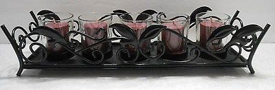 BLACK HOME ACCENT IRON RECTANGULAR CANDLE HOLDER W/LEAF DESIGN & 5 GLASS VOTIVES