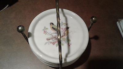 Vintage Set 4 Ceramic Coasters Birds Brass Stand EUC