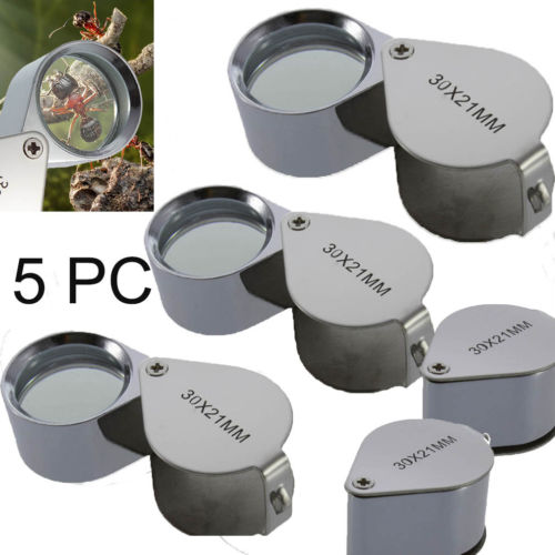 5PC Universal Hot 30x 21mm Jewelers Eye Loupe Magnifier Magnifying Glass From US
