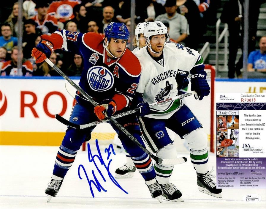 Milan Lucic Signed 11x14 w/ JSA COA #R73818 Edmonton Oilers