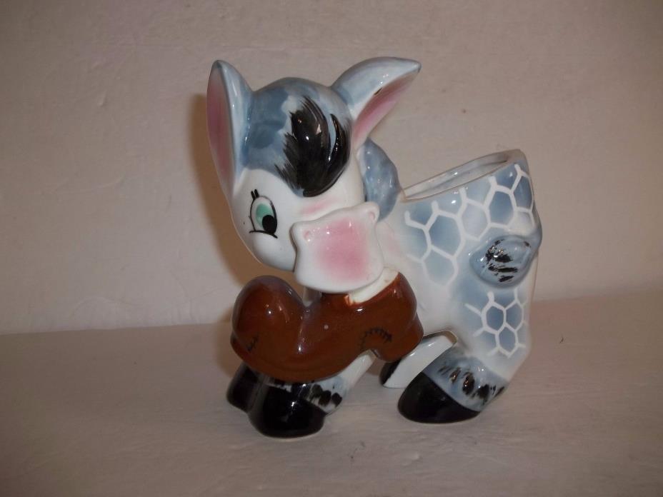 Blue White Napco Ceramic Planter Horse Donkey Shoe in Mouth Vintage Figurine