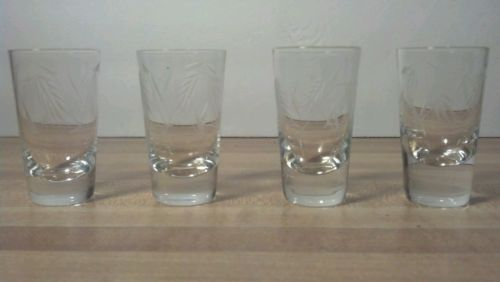 Four-Vtg RADIO BRAND FINE GLASS~ Cut Wheat Design Shot Glasses ~Hard to Find