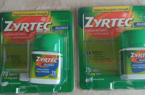 LOT OF 2 - Zyrtec Allergy, 10 MG / Antihistamine Tablets 70 X 2 ( 140 ) EXP 6/19