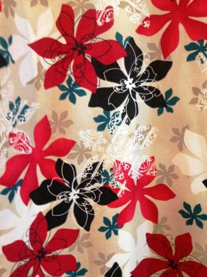 Womens SB Scrubs Top Size 2X Christmas Poinsettias Flowers pockets red black