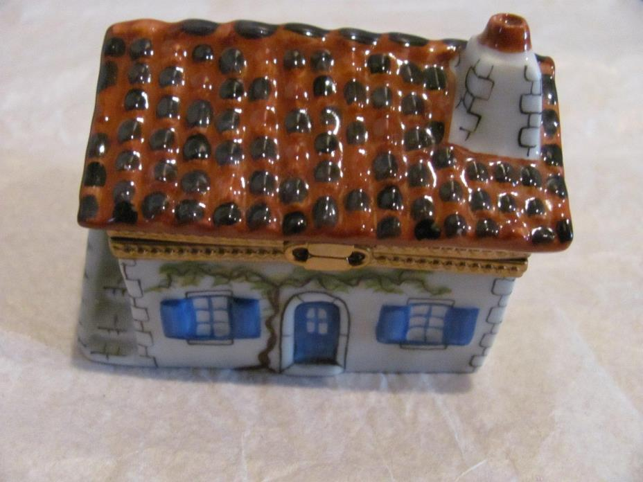 Limoges France Rochard Porcelain & Metal Hinged Trinket Box House 3