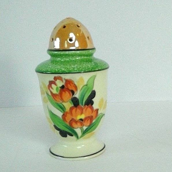 vintage hand painted sugar shaker muffineer luster iridescent tulips cork Japan