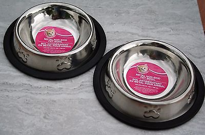 Cat And Dog Bowls Two, 6in round Non-Skid Stainless Food & Water Feeders Pets