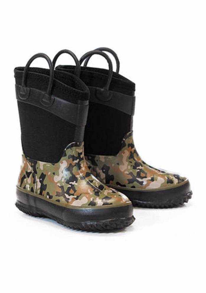 NEW BOYS WESTERN CHIEF WILDERNESS CAMO RUBBER/NEOPRENE BOOTS SIZE 9/10