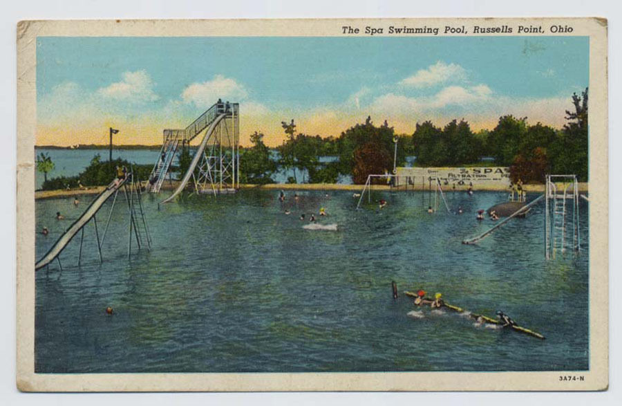 RUSSELLS POINT Ohio OH Spa Swimming Pool Park Vintage POSTCARD 1947