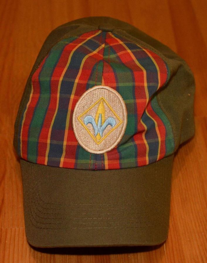 BSA Boy Scout Webelos Plaid Twill Uniform Baseball Cap Adjustable Hat Sz M/L