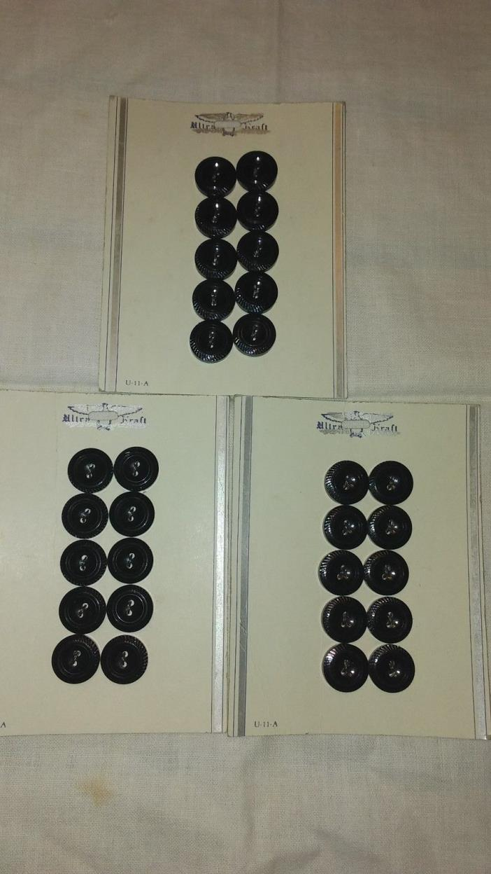 Lot-1 vintage ultra kraft buttons, 3 cards 30 buttons