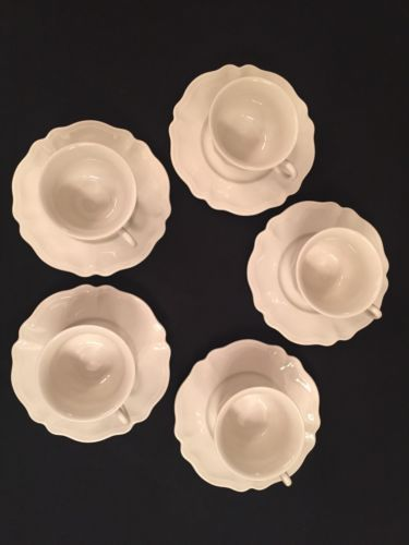 Red Cliff Ironstone Heirloom: 5 Coffee Cups and Saucers