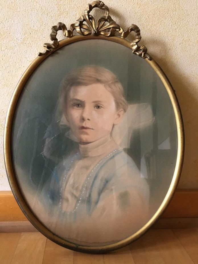 Antique Metal Oval Frame with Portrait Painting of a child