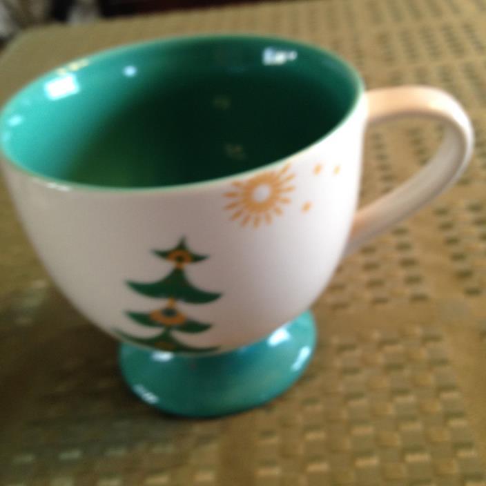 Starbucks Coffee Mug Holiday 2006 Christmas Trees Stars Footed 12 OZ