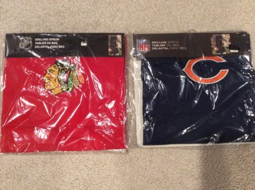 chicago blackhawks or bears grilling apron bbq licensed new embroidered logo nhl