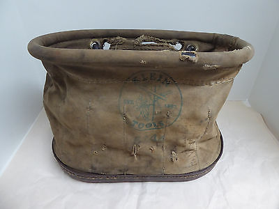 KLEIN TOOLS 5144 Oval Bucket Aerial Basket Lineman Electrician Bag 15 pockets
