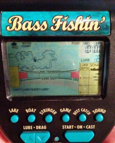 Radica Bass Fishin' Electronic Hand Held Bass Fishing Game 1996 Works Great