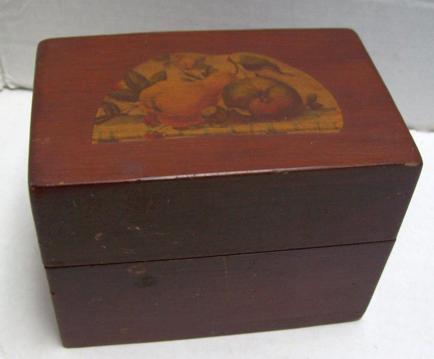 Vintage / Antique Decoupage Wood Recipe Library Card Catalog Storage Wooden Box