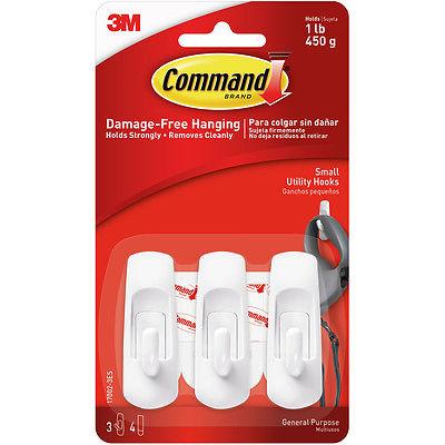 Command Utility Hook 2/Pkg-2 White Hooks & 4 Strips