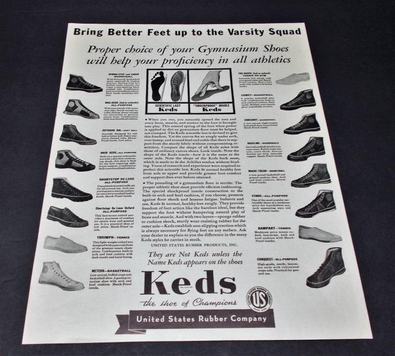 Original vintage 1935 KEDS sneaker shoe ad