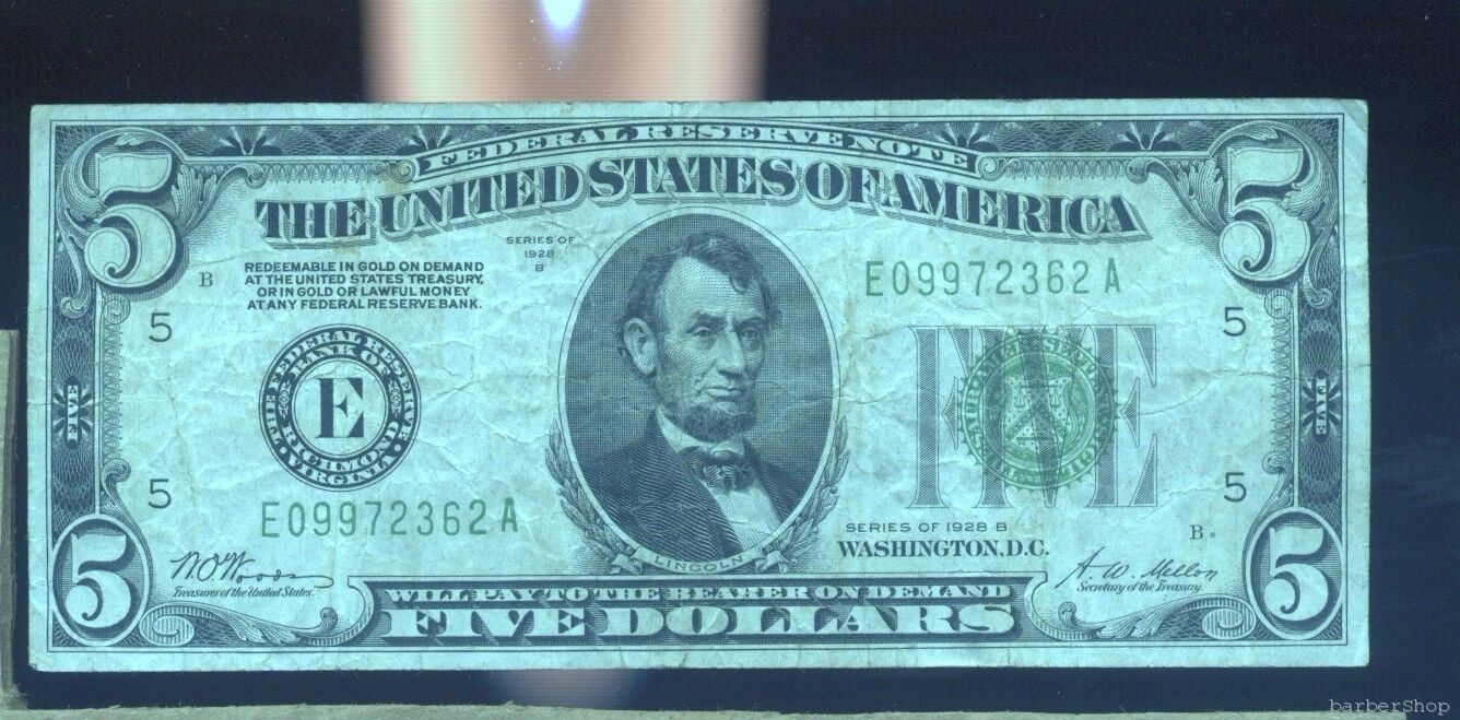 1928B $5 Federal Reserve Note RICHMOND F. No holes, tears or ink.  E09972362A