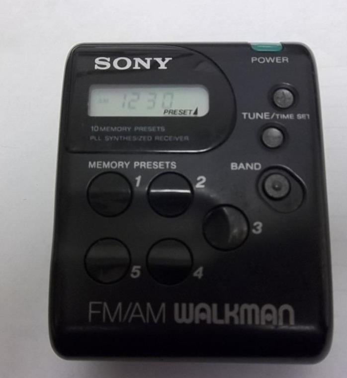 Vintage Sony SRF-M33 Portable Battery Oper AM FM Radio Walkman 10 Memory Presets
