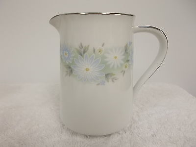 Noritake Blue Charm Platinum Trim Floral Porcelain Creamer Small Pitcher 6978
