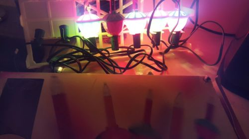 CHRISTMAS BUBBLE LIGHTS, 7 SOCKETS, TWO LIGHTS MISSING, GOOD FOR REFILLS OR REPA